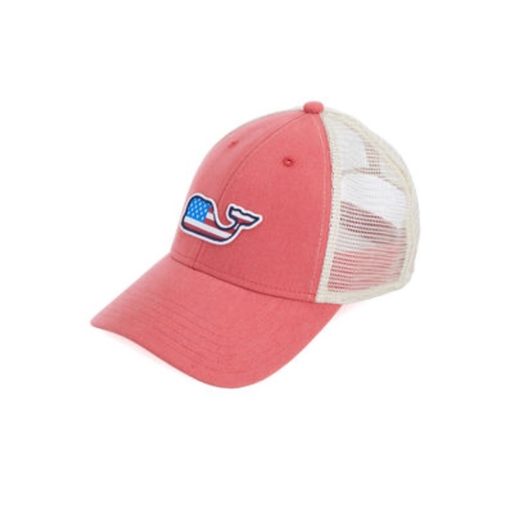 2727c843da4b5 Vineyard Vines Flag Whale Patch Trucker Hat